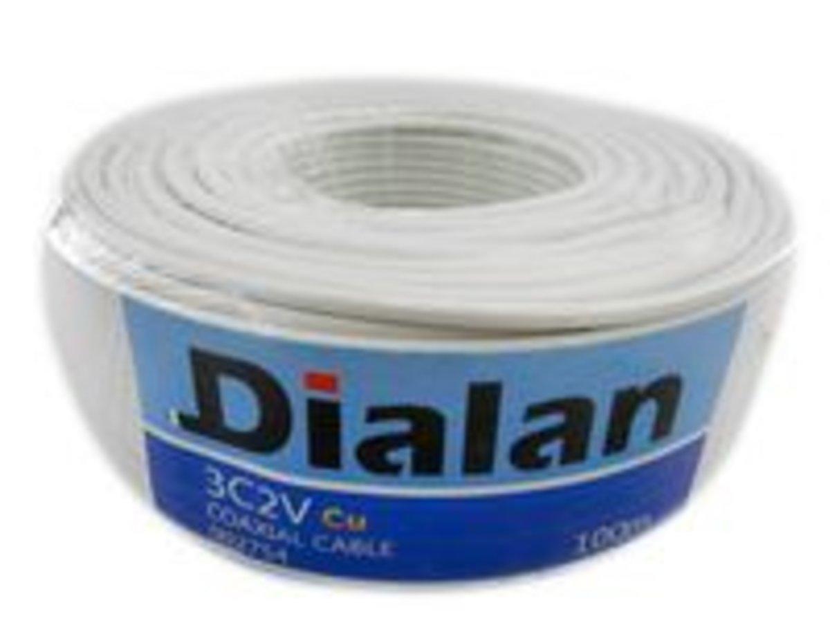 3С2V Cu (білий) 0.5мм мідний екран 75 Ом 100 м (4шт/ящ) Dialan